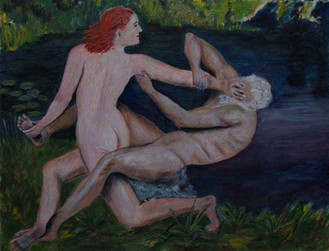 Händeln will ich mit Dir, 2009, Öl/Karton 48x62 cm