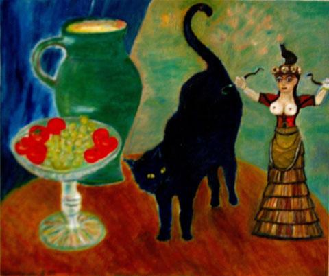 Stillleben mit Katze, 2010, Öl/LW 50x40 cm