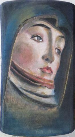 trauernde Maria nach Riemenschneider, 2009, Öl/Holz 50x28 cm