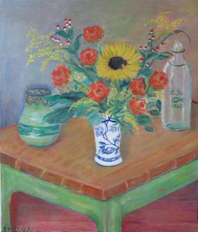 Stillleben m. Rose & Sonnenblume, 2009, Öl/LW 70x60 cm