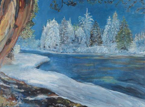 Schneelandschaft mit Tannen, 2014, Öl/LW 60x80 cm