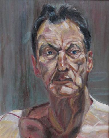 Hommage an Lucian Freud, 2010, Öl/Karton 50x40 cm