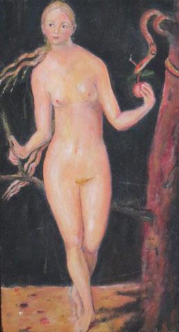 Eva nach Dürer, 2010, Öl/Holz 36x18 cm