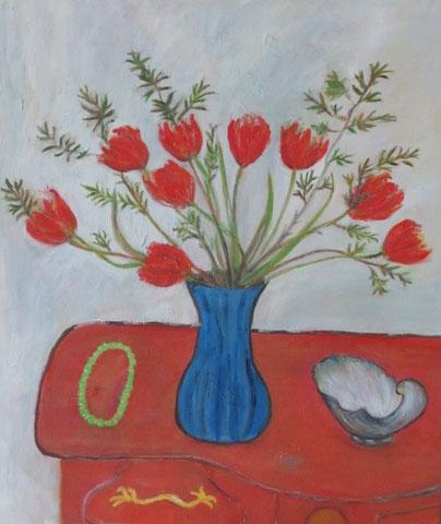 Stillleben mit Tulpen, 2012, Öl/Karton 42x29,7 cm