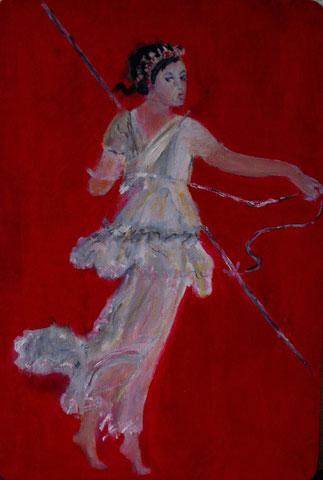 Tänzerin Pompeji, 2010, Öl/Holz 35x 24 cm