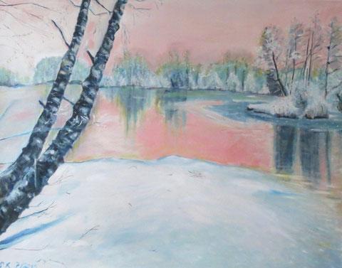 Lesum im Schnee, 2011, Öl/LW 80x100 cm