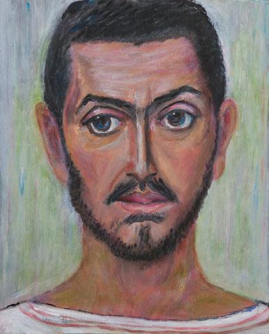 Junger Mann, Studie zu Mumienportrait, 2016, Öl/Holz 37x30 cm
