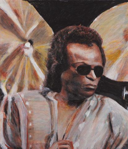 Portrait Miles Davis, 2014, Acryl/Pappe, 75x65 cm