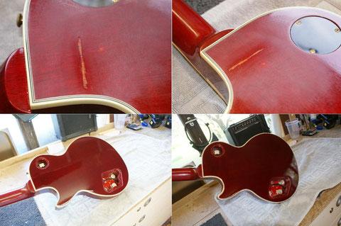 Der Rücken wurde vom Gitarrenständer stark in Mittleidenschaft gezogen.