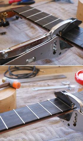 Um das Instrument zu schonen, wird mit speziellen Werkzeugen gearbeitet.