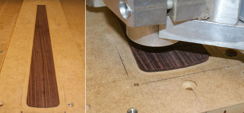Jetzt wird das das Griffbrett aus Palisander angefertigt. Die Bundschlitze werden aber noch nicht auf volle Tiefe gearbeitet.