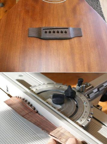 Ausgangsposition. Zuerst wird ein Stück Palisander zugeschnitten.