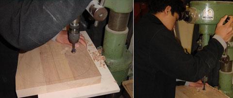 Das Holz wird vor dem fräsen zuerst mit einem Bohrer grob entfernt.