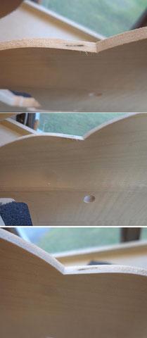 Hier kann man übrigens die Tücken des Holzes sehen. Versteckt in der Mitte des Holzes eine Markstelle. Hier macht das aber nichts aus.