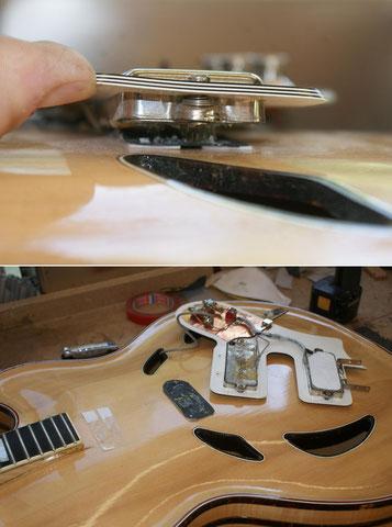 Nach der Restauration wird die Gitarre einen A. Zoller Tonabnehmer erhalten.