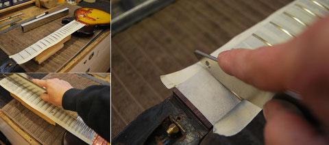 Vor dem besaiten des Instrumentes, werden die Bundstäbe noch abgerichtet und verrundet.
