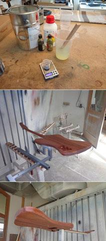Am nächsten Tag wird alles angeschliffen und die Gitarre zum Lackieren vorbereitet.