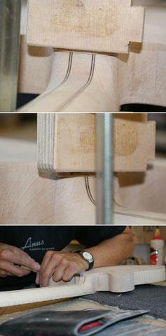 Der Halsfuß bekommt noch eine Abdeckung aus Ahorn. Diese erweitert das Binding nach dem Lackieren.