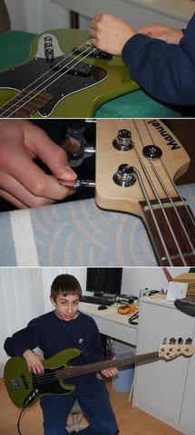 ...danach das Einstellen der Saitenlage etc. Nach einem Test ist klar, dass der Bass einwandfrei funktioniert.