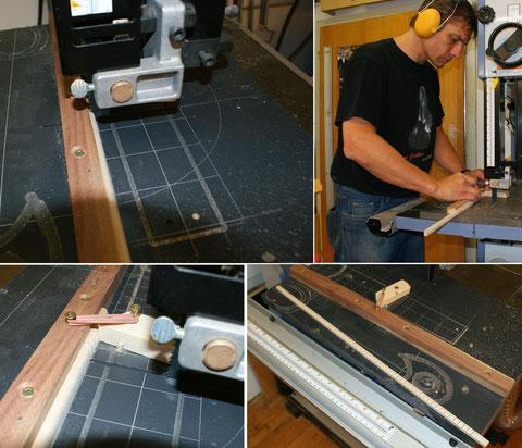 ... an der Bandsäge eingeschnitten. Dazu habe ich mir eine Vorrichtung gebaut die es mir erlaubt, die Einschnitte genau zu kontrollieren.