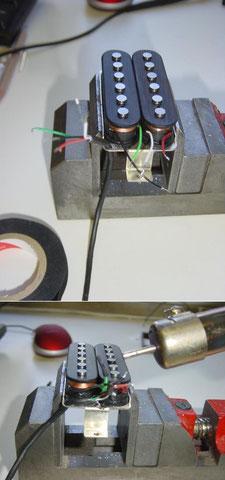 Nun werden die Tonabnehmer verlötet und die Lötstellen mit Schrumpfschläuchen versehen.