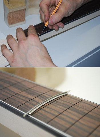 Durch das Binding werden die Bundstäbe erst genau angezeichnet und dann mit einer Zange an den Enden bearbeitet.