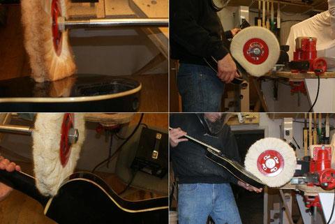 Einige Zeit später wird das Instrument noch einmal auf Fläche geschliffen und auf Hochglanz poliert.