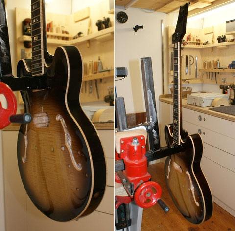 Zum Trocknen geht das Instrument wieder zurück in die Werkstatträume ...