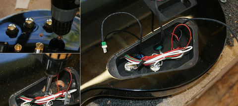 Montage der Schalter und Regler. Durch die vormontierten Stecker gestaltet sich die Montage für die Kabeldurchlässe mit etwas mehr Aufwand.