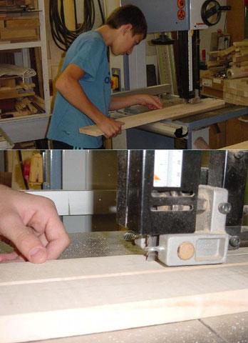 Das Halsprofil wird erst einmal mit der Bandsäge grob ausgeschnitten.