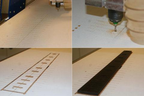 Die Inlays werden auf der CNC vorgefräst ...