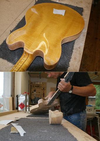 Um ein Durchschleifen zu verhindern, arbeite ich vorwiegend von Hand.