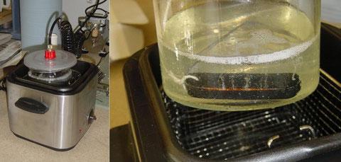 Erstmals werden die Spulen unter Vakuum gewachst. Man kann sehr gut sehen wie die Luftblasen aufsteigen.