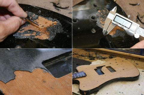 Beim entlacken des Instrumentes kam dann der Originallack doch noch zum Vorschein.