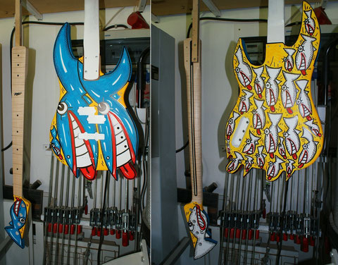 Der Bass hängt inzwischen wieder in meiner Werkstatt und ist bereit für seine Weiterverarbeitung.