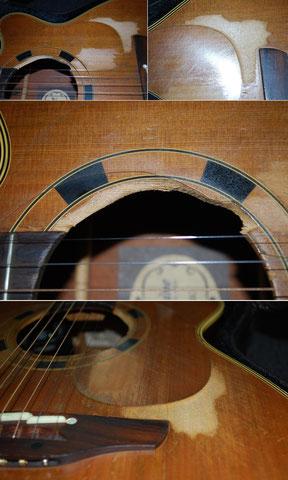 Um das Schallloch ist das Instrument stark abgespielt. Um die Decke für weitere Jahre zu erhalten, wird der Schaden ...