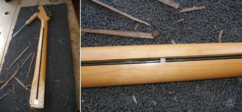 Fender hat einen geraden Kanal gefräst. Darum das Eisenstück auf dem Bild rechts. Es wird benötigt um dem Halsstab bzw. die Halskrümmung einstellen zu können.