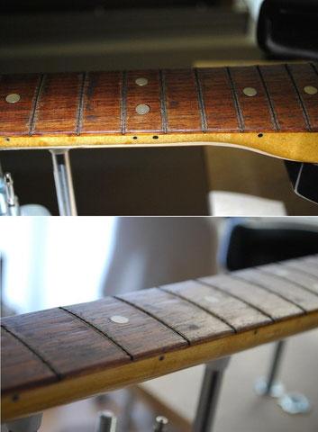 Nach dem die Bundstäbe vorsichtig gezogen wurde, müssen die Kerben (unteres Bild) im Griffbrett bearbeitet werden.