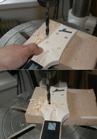 Die Bohrungen für die Tuner werden auf zwei Arbeitsgänge aufgeteilt. Vorne sind die Löcher 8mm ...