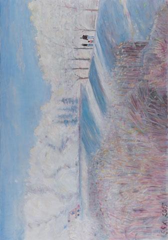Spaziergang an der Lesum, 2015, Öl/LW 70x100 cm