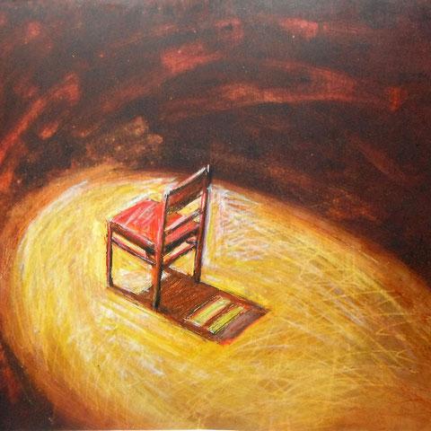 """Siegmund schneider """"Stuhl(1)"""", 50x70cm, Öl und Kreide auf Karton"""