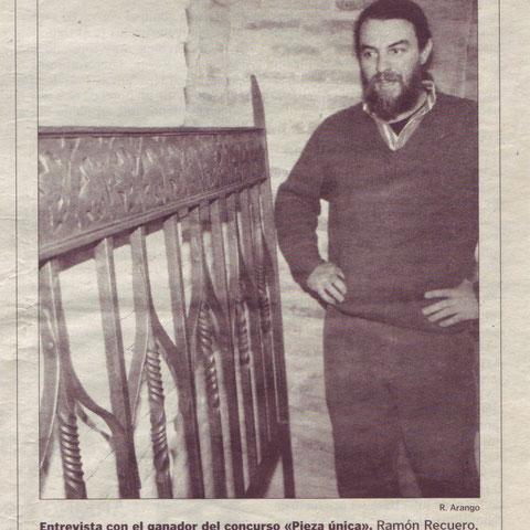Ramón Recuero Ganador del 1º Premio Pieza Única de artesanía  nota de prensa