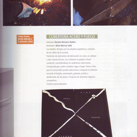 Ramón Recuero Ibáñez y Martí Morros Valls ganadores del 1º Premio de diseño aplicado a la Artesanía de Castilla-La Mancha 2005 nota de prensa