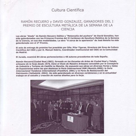 Ramón Recuero Ibáñez ganador del 1º Premio de escultura en metal CENIM  nota de prensa