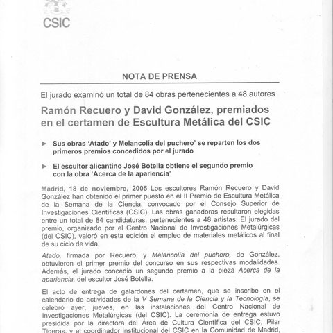Ramón Recuero y David Gonzalez premiados en el certamen de Escultura en Metálica del CESIC nota de prensa