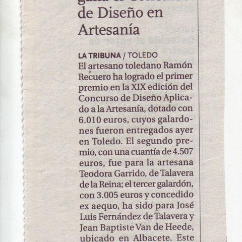 Ramón Recuero gana el concurso de diseño en artesanía nota de prensa