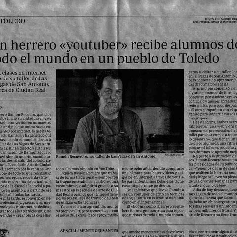 Ramón Recuero en YouTube (Nota de prensa)