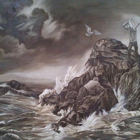 Sturmstimmung, Öl auf Leinwand, 200 x 120 cm, 2014