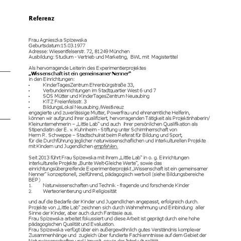 Referenzen von Leitungen der Einrichtungen im Münchner Neuaubing (1)