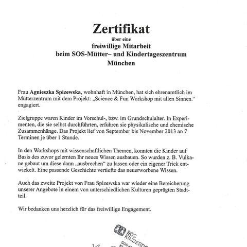 Empfehlungsbrief von SOS-Kinderdorf für ehrenamtliches Projekt
